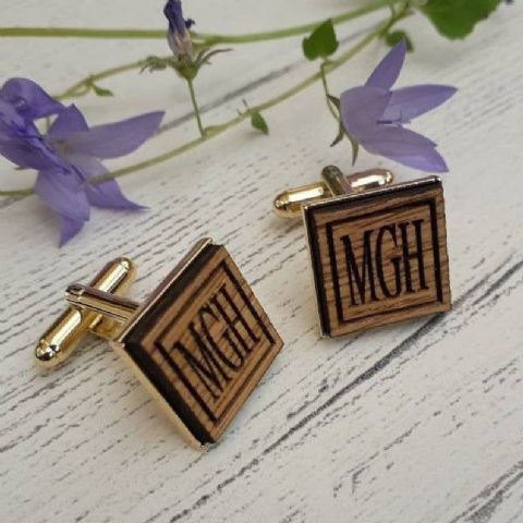 Personalised Initials Wooden Oak Cufflinks, Gold Plated